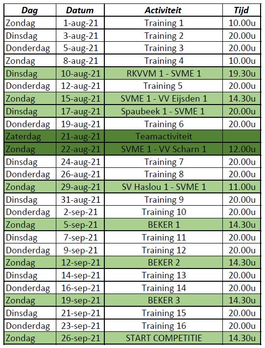 Voorbereidingen seizoen 2021/2022